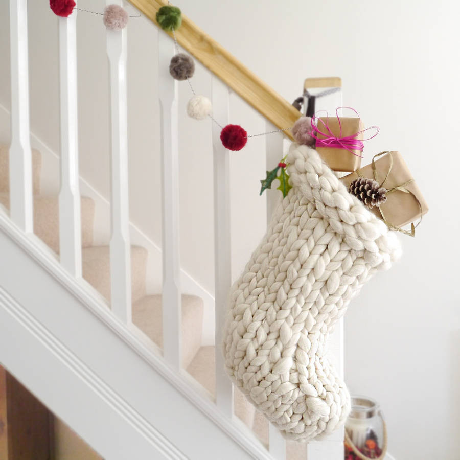 Knit Christmas Stockings Elegant Chunky Hand Knitted Christmas Stocking by Lauren aston Of Fresh 41 Photos Knit Christmas Stockings