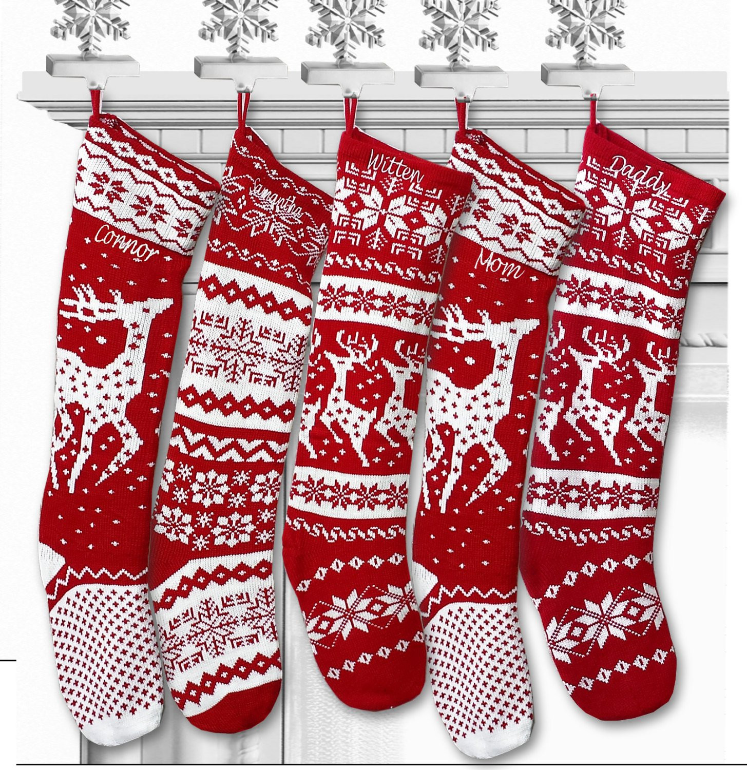Knit Christmas Stockings Elegant Knit Christmas Stockings Red White Renindeer or by Eugenie2 Of Fresh 41 Photos Knit Christmas Stockings