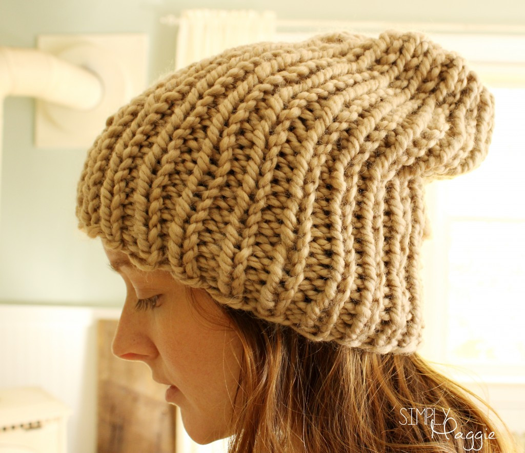 Slouchy Knit Purl Hat
