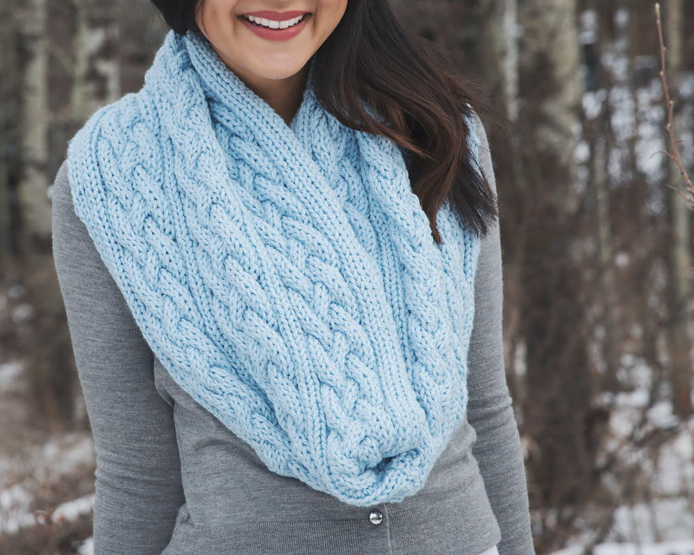 Braided Cables Winter Infinity Scarf