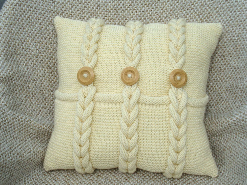 Ivory knitted pillow chunky pillow knit couch pillow sofa