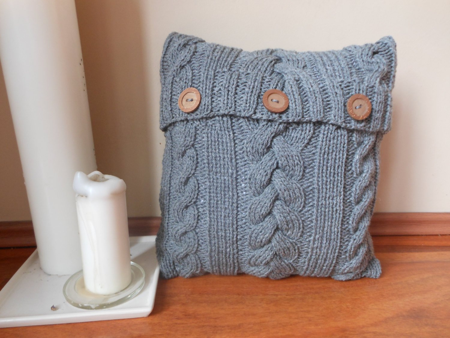 Cable Knit Pillow Cover Pillow Gray Pillow Decorative Knit