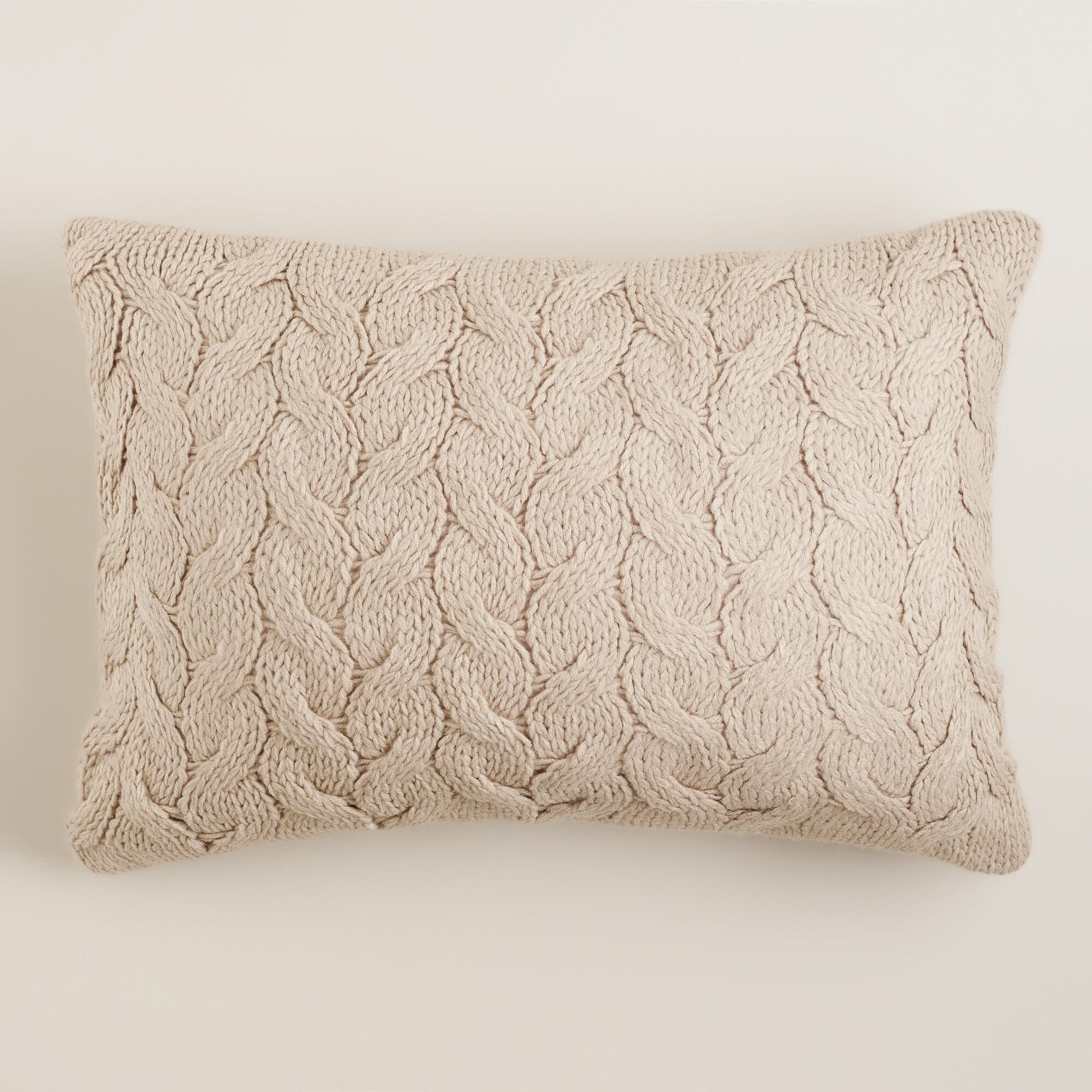 Knit Pillow New Taupe Hand Knit Lumbar Pillow Of Charming 46 Pics Knit Pillow
