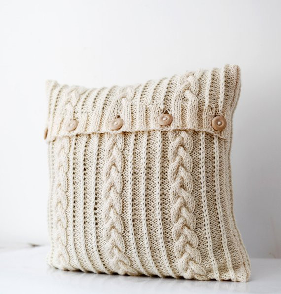 Cable hand knitted pillow wool cover milk white decorative