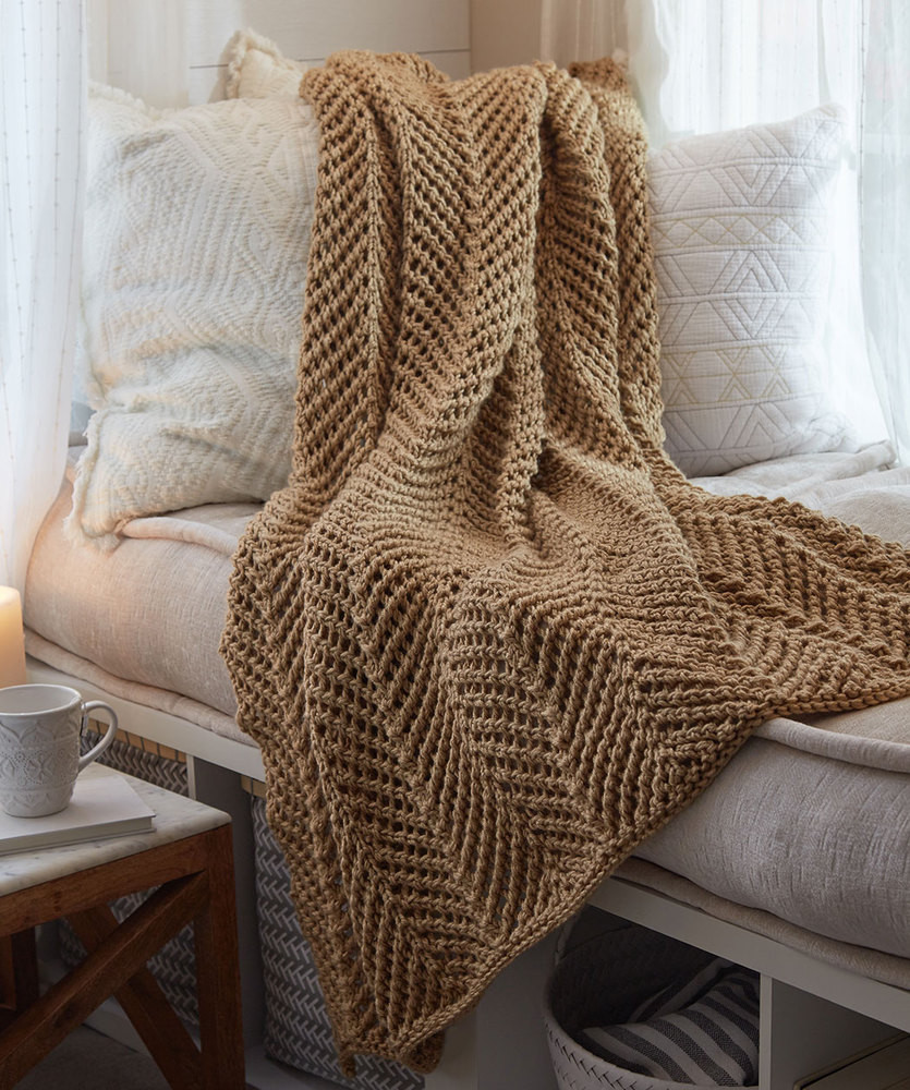 Knitted Afghan Patterns Awesome Zigging Knit Throw Free Pattern ⋆ Knitting Bee Of New 43 Photos Knitted Afghan Patterns