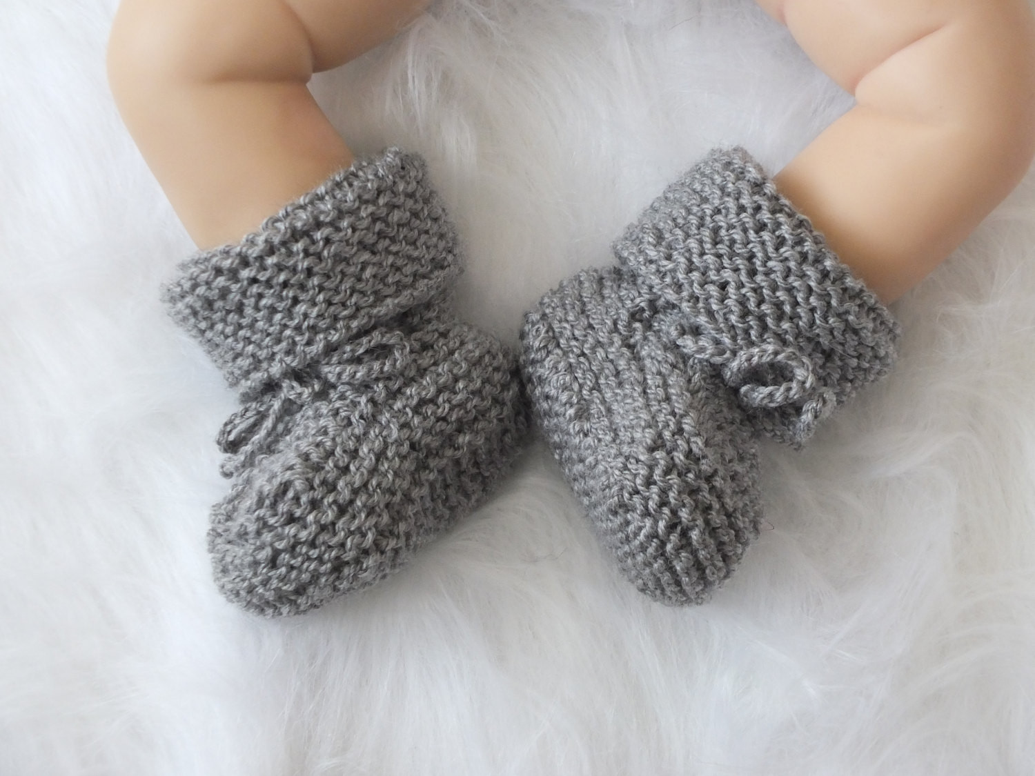 Gray Baby boots Knitted baby booties Baby boy shoes Hand