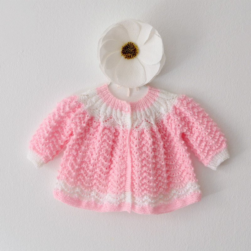 Knitted Baby Clothes Pink Knitted Sweater Hand Knit Baby