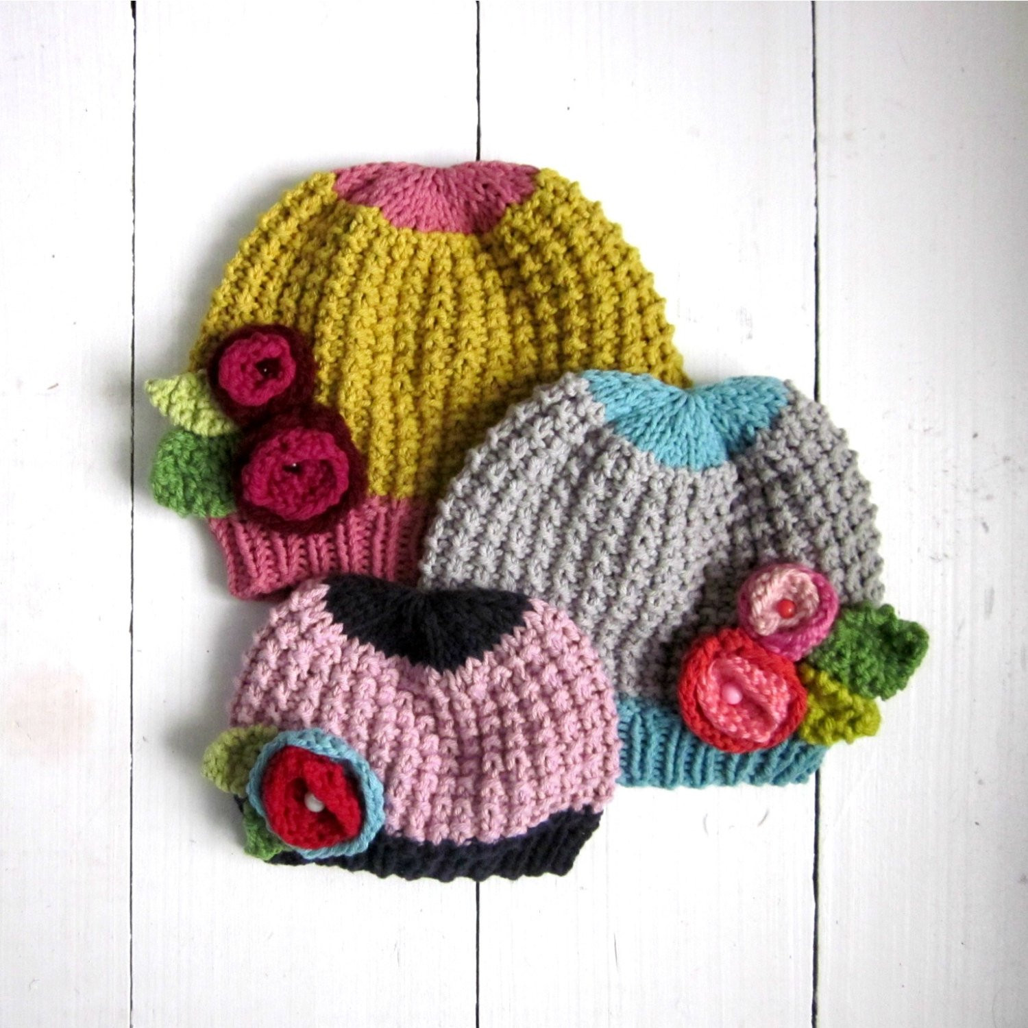 Knitted Baby Hats Beautiful Knitting Pattern Baby Girl Hat with Flowers Pdf Instant Of Awesome 41 Images Knitted Baby Hats