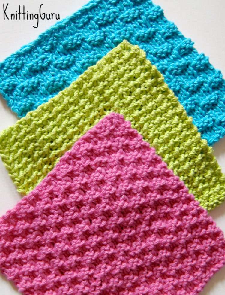 6 Knit Dishcloth Patterns Tutorials E book PDF Fast Easy