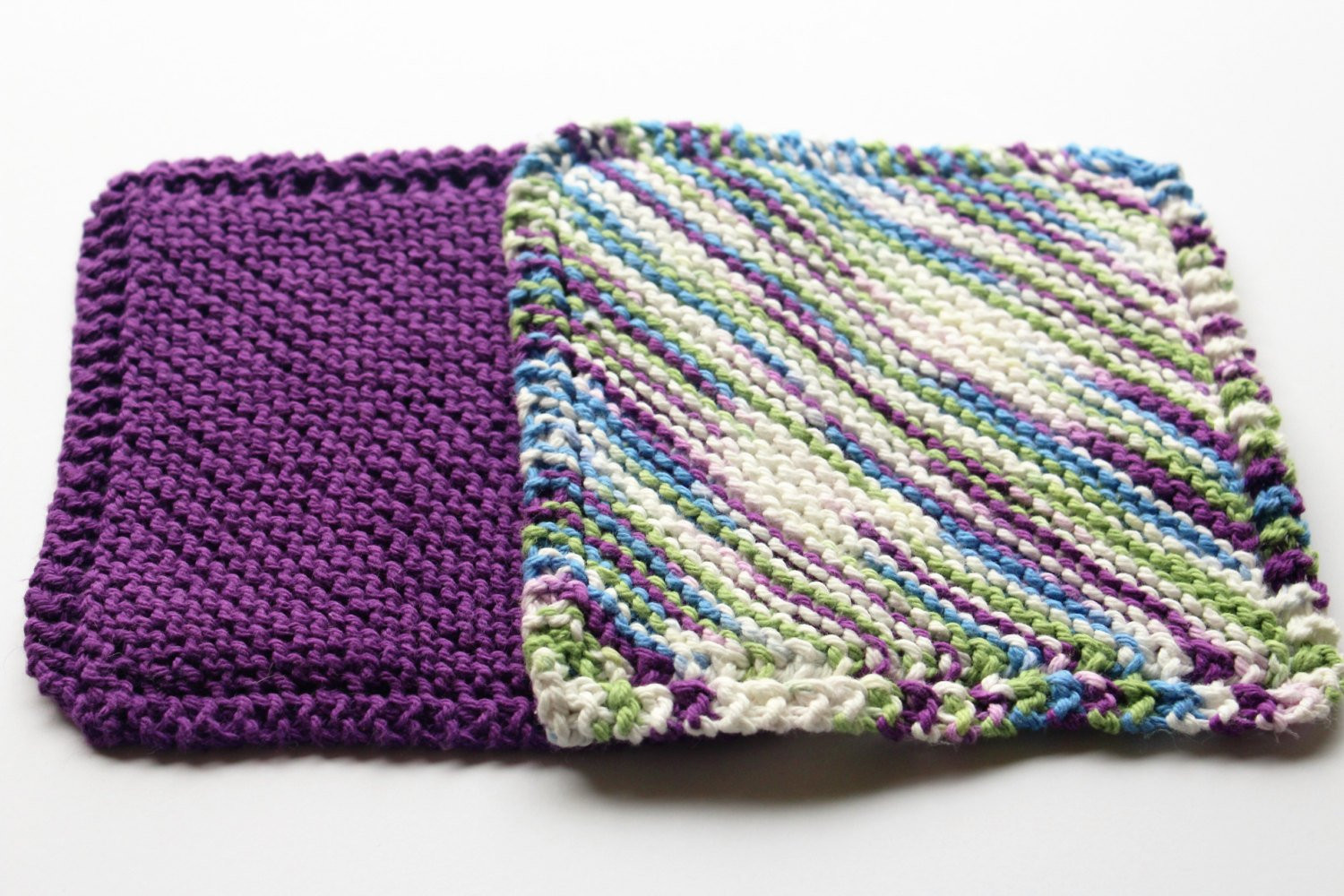 Knit Dish Cloths Hand Knit Dishcloth Set of 2 Dishcloths