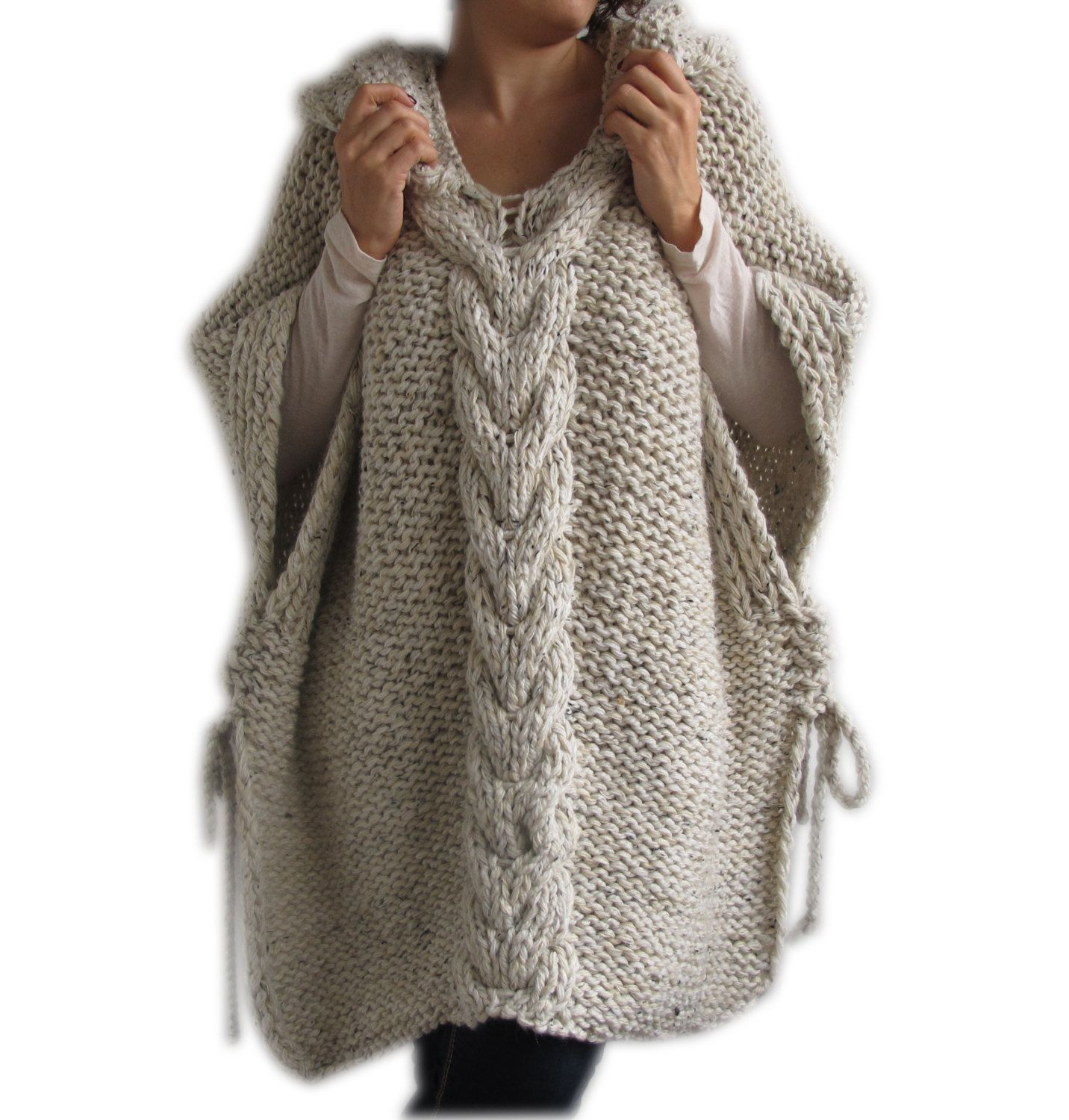 Knitted Poncho Beautiful Clearence Tweed Beige Hand Knitted Poncho with Hood Of Amazing 49 Photos Knitted Poncho