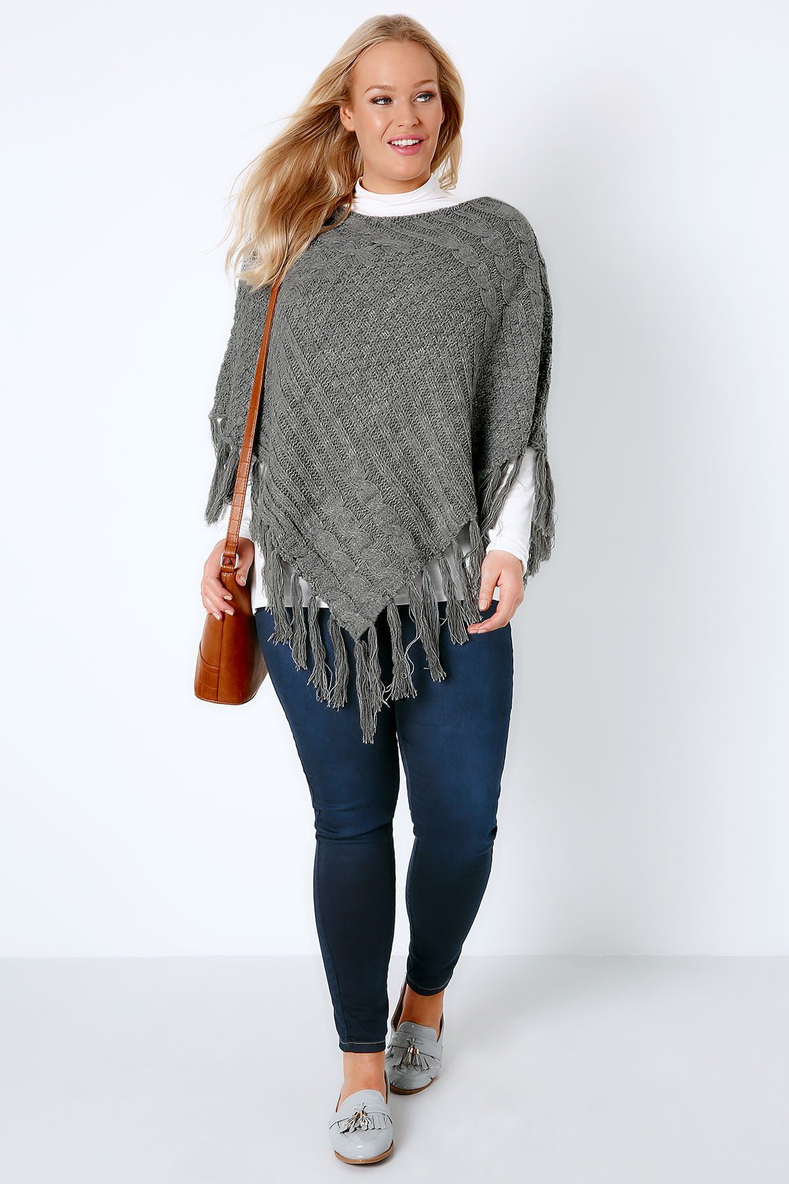 Knitted Poncho Best Of Grey Cable Knitted Poncho with Tassels Plus Size 16 to 32 Of Amazing 49 Photos Knitted Poncho