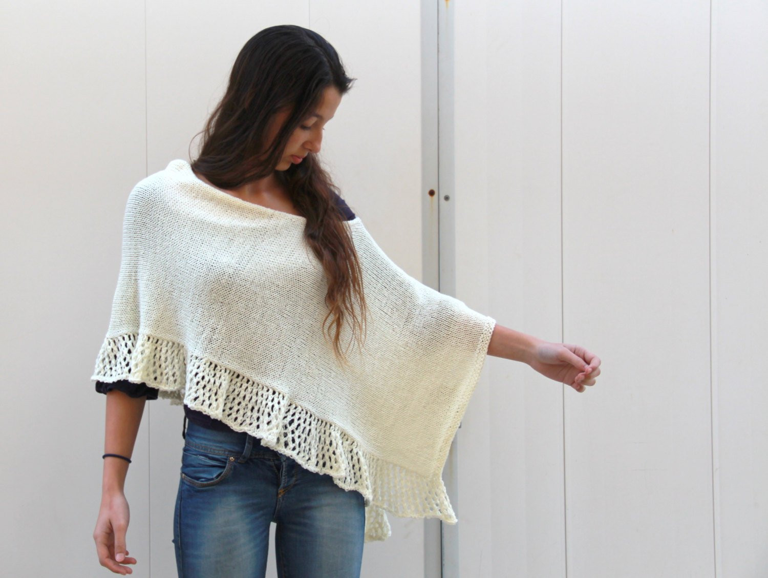 Knitted Poncho Inspirational F White Cream Poncho Knit Lace Shawl Hand Knit Wrap Knitted Of Amazing 49 Photos Knitted Poncho