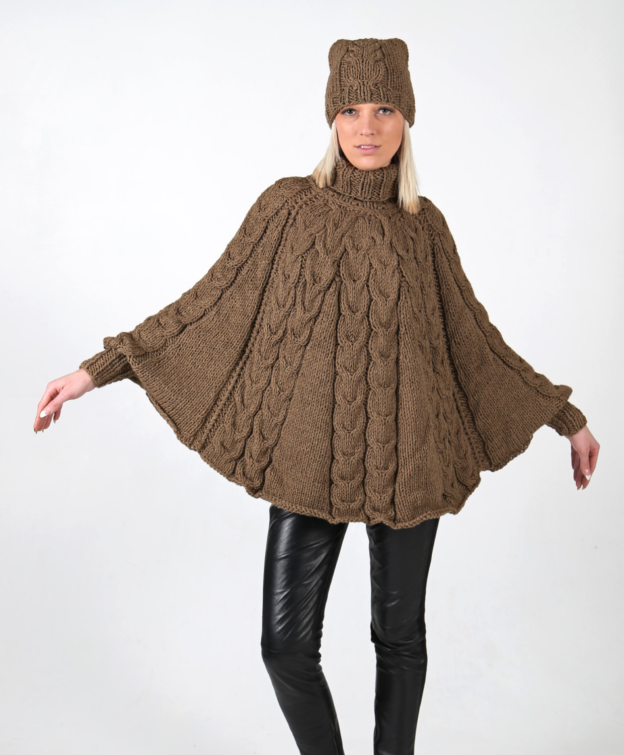 Instant Download PDF pattern Hand knitted poncho with cuffs