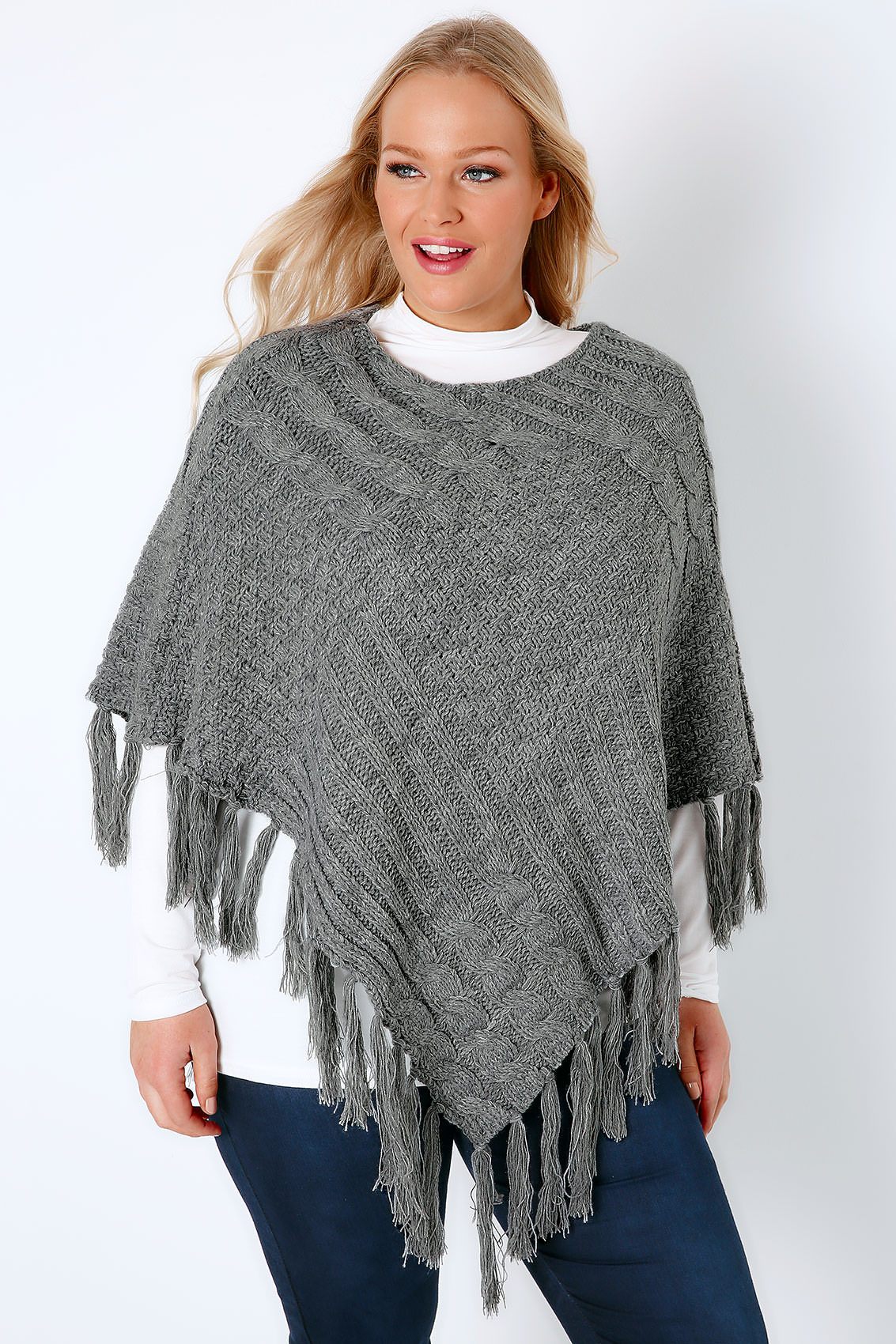 Knitted Poncho Unique Grey Cable Knitted Poncho with Tassels Plus Size 16 to 32 Of Amazing 49 Photos Knitted Poncho