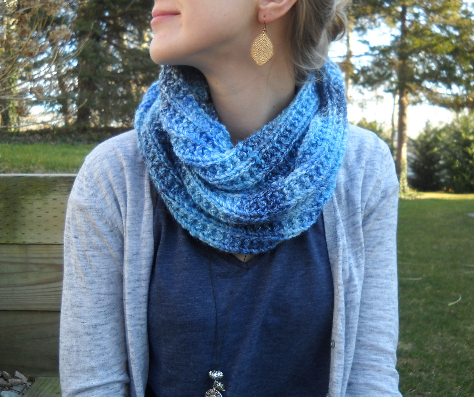 Knitted Scarf Elegant Wiseknits Blues Infinity Scarf Free Pattern Of Great 41 Ideas Knitted Scarf