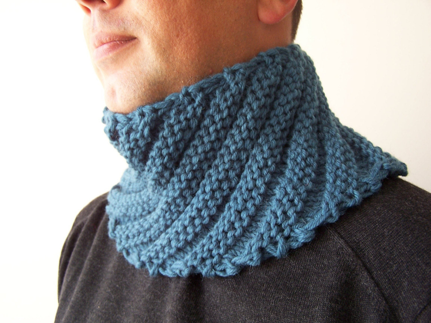 Knitted Scarf Unique Hand Knit Blue Cowl Scarf for Men Fall Scarf Menswear Of Great 41 Ideas Knitted Scarf