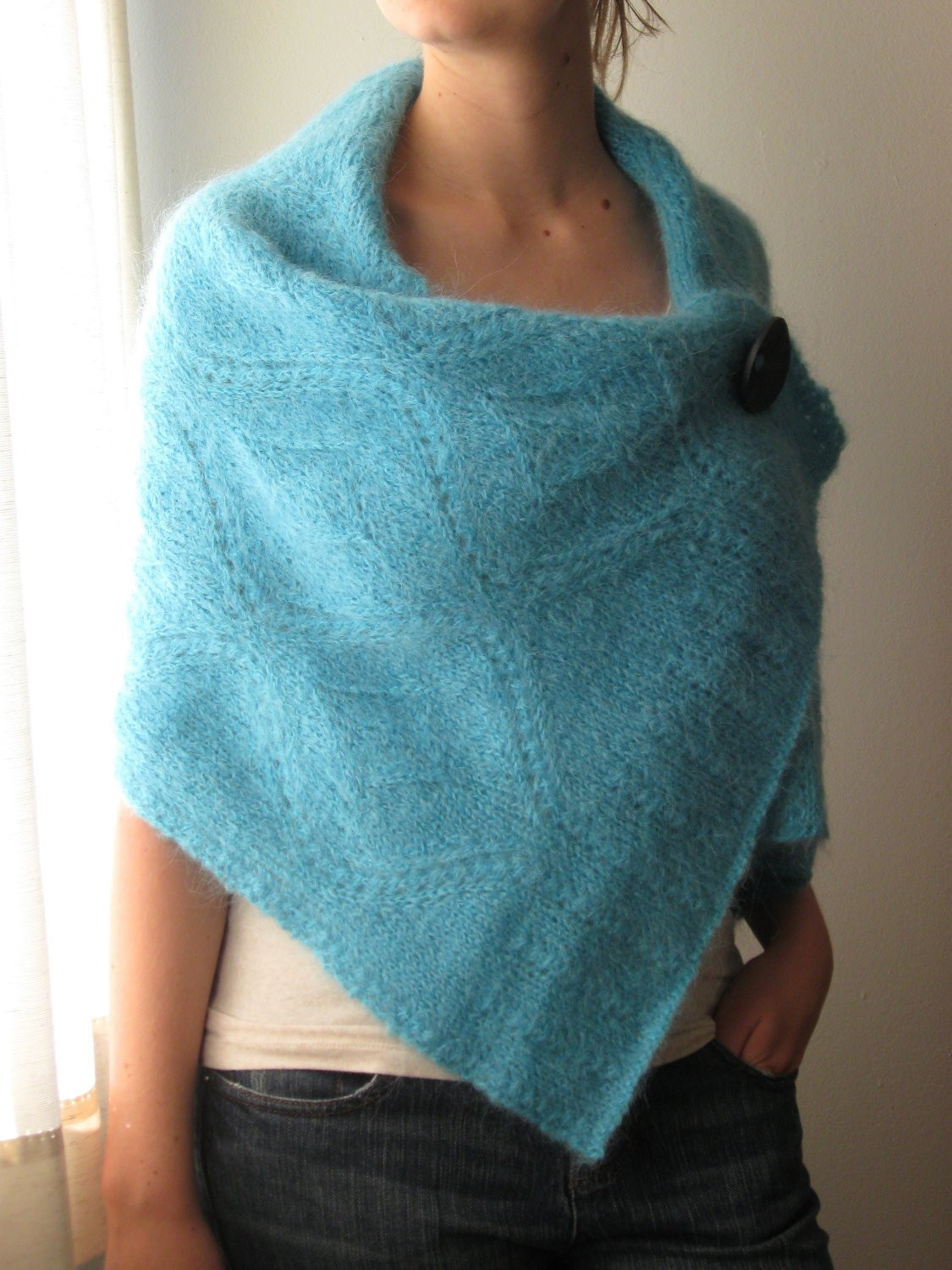 Hand Knit Shawl Wrap Poncho MADE TO ORDER
