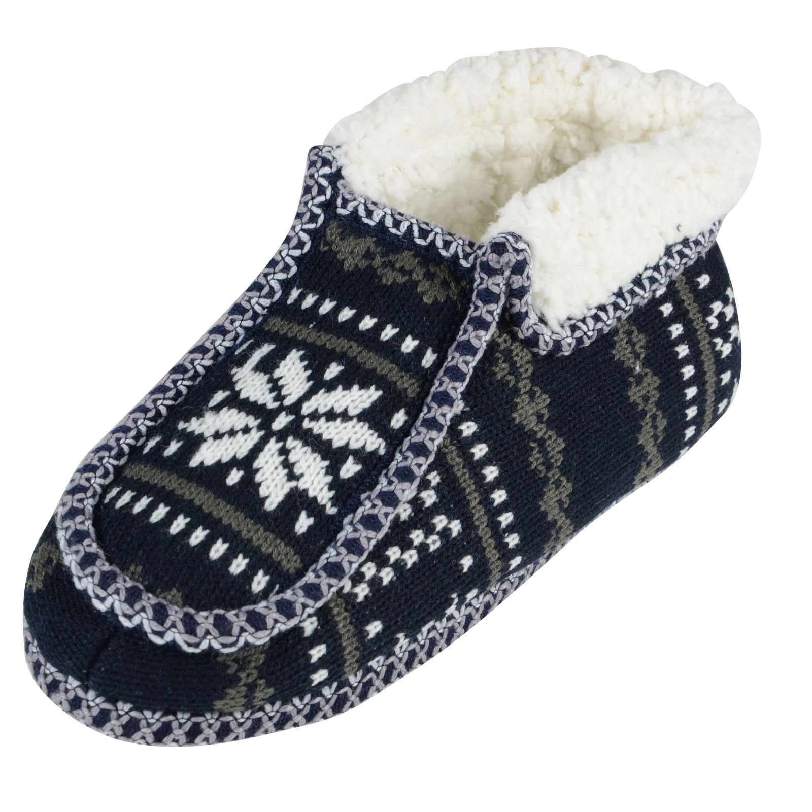 La s Fairisle Patterned Knitted Bootie Style Slippers