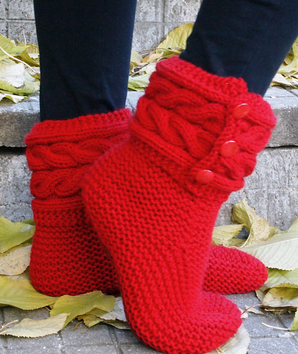 Slipper Socks and Boots Knitting Patterns