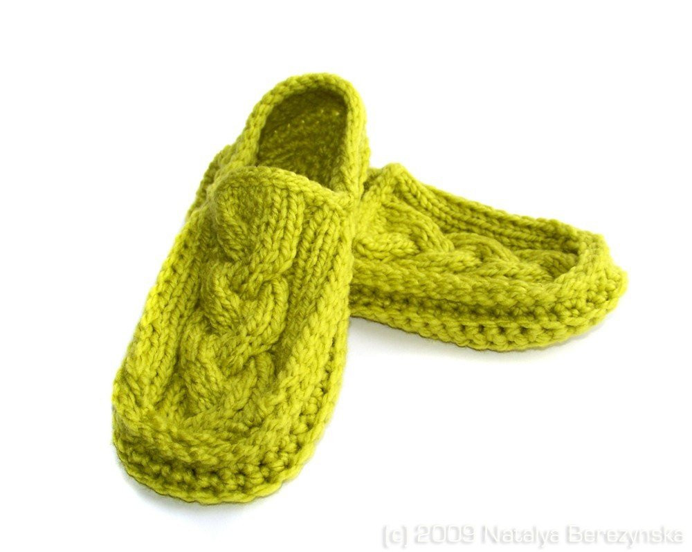 Knitted Slippers New Lime Green Moccasin Slippers Knit Crochet Cabled Avocado Of New 42 Photos Knitted Slippers