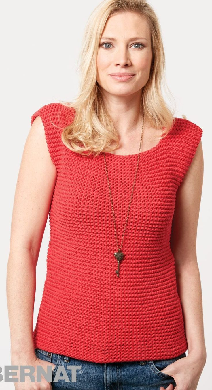 Knitted Summer tops Best Of Free Knitting Pattern for Garter Stitch Tank This Bernat Of Attractive 48 Ideas Knitted Summer tops
