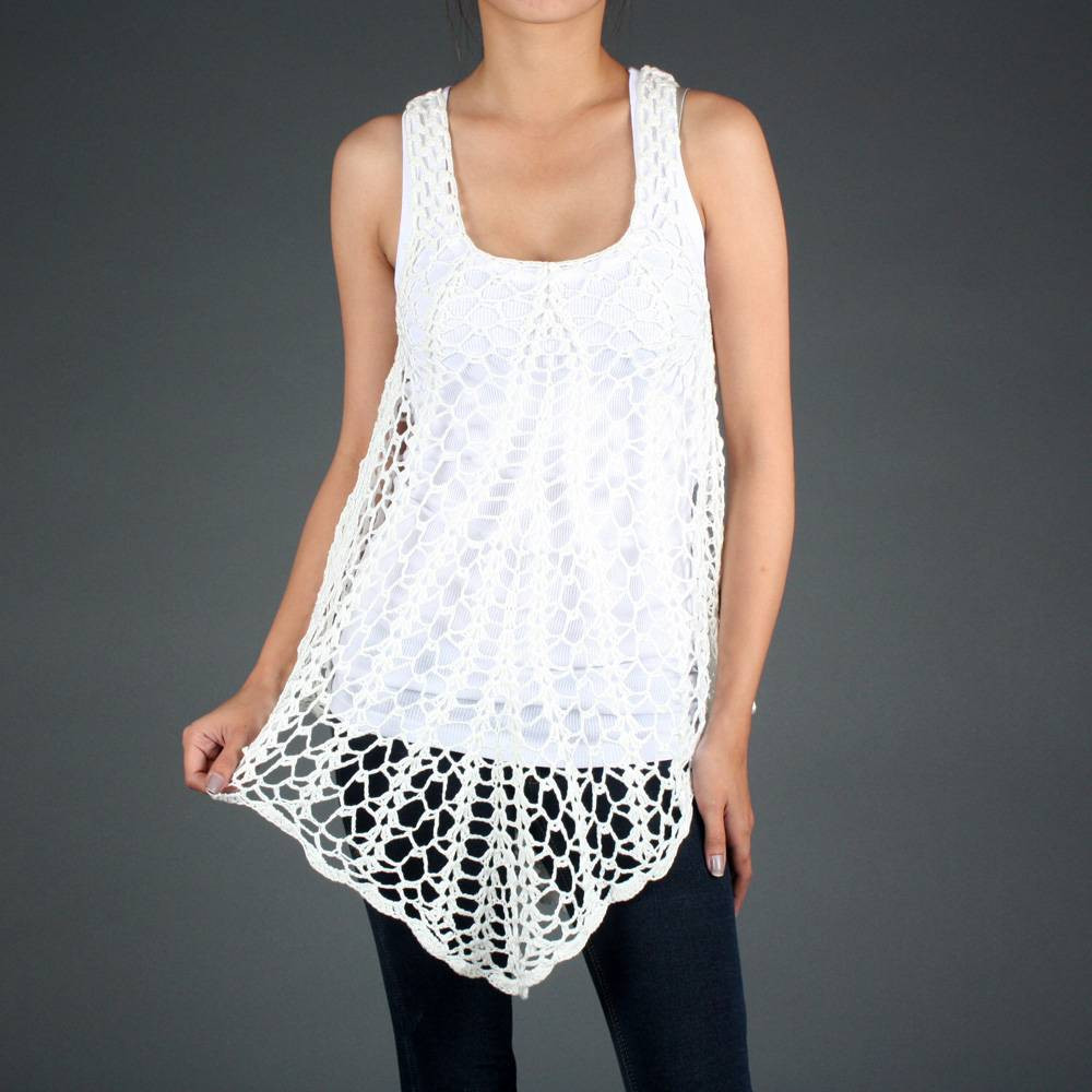 White Crochet Knit Summer Overlay Beach Tank Top
