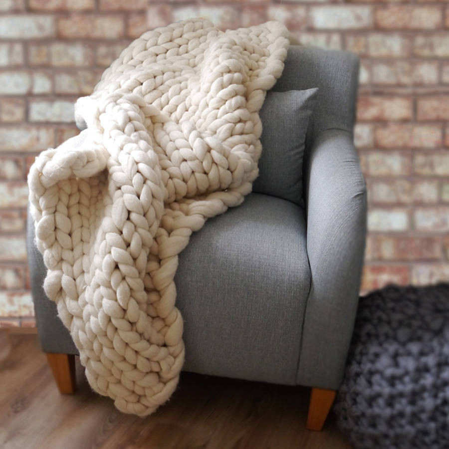 woola be super chunky hand knitted throw by lauren aston