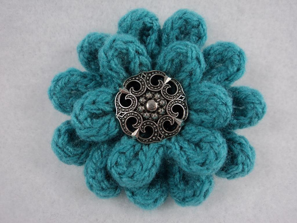 "Knitting and Crochet Beautiful 3"" Flower Pin Pdf Pattern Knit & Crochet by Moniquerae Of Amazing 45 Photos Knitting and Crochet"
