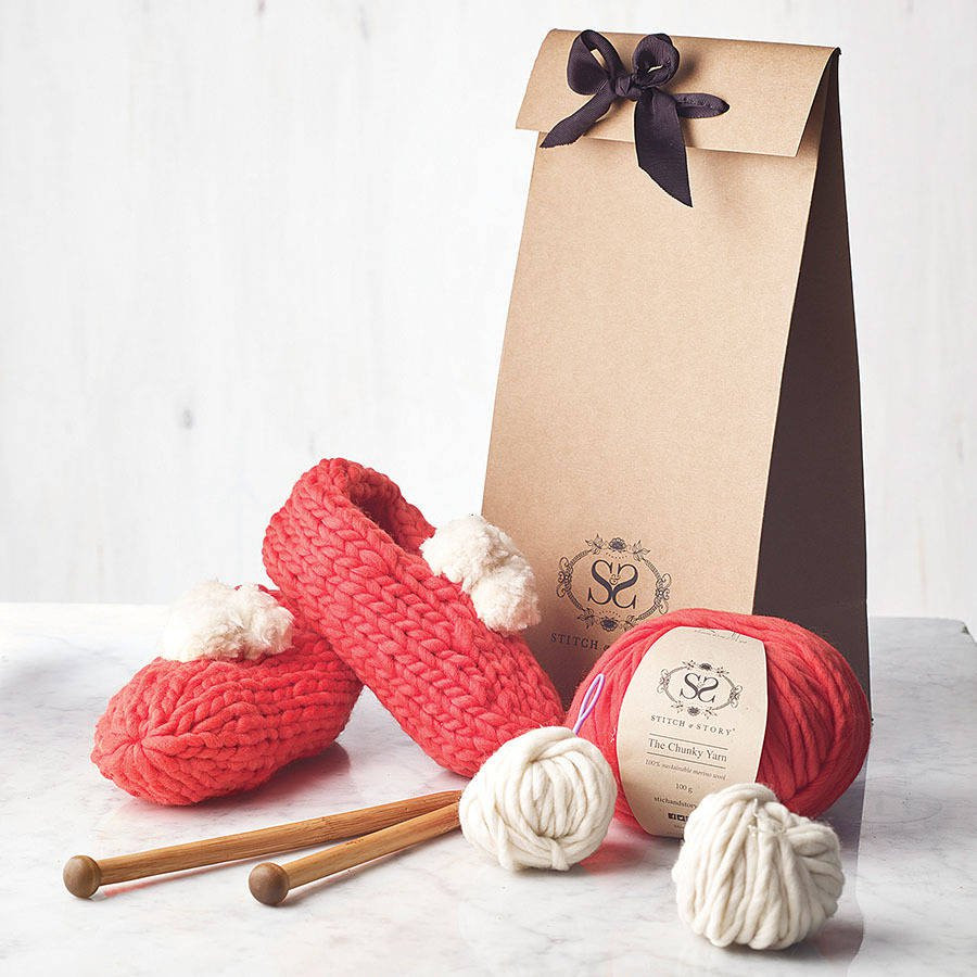 Knitting Kits Awesome Make Your Own Beginner Pompom Slippers Knitting Kit by Of Perfect 44 Images Knitting Kits