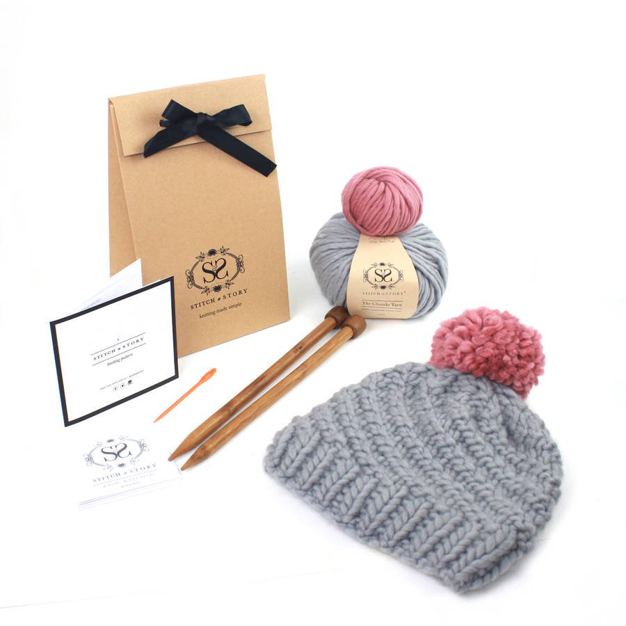 make your own luca pom hat knitting kit by stitch & story