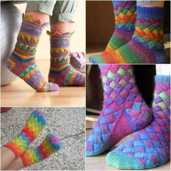 Knitting socks Awesome Rainbow Entrelac socks Free Pattern Easy Video Tutorial Of Gorgeous 44 Pictures Knitting socks