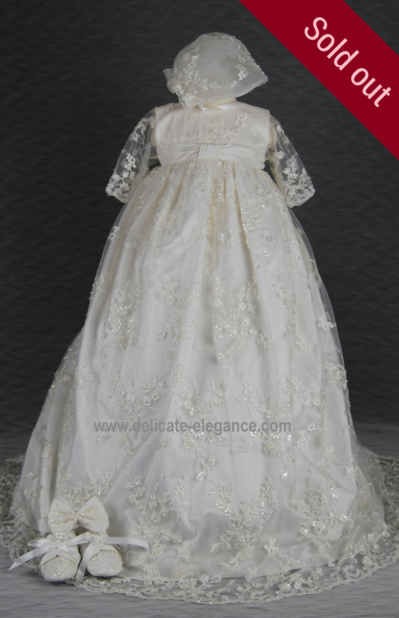 4239B Ivory Lace Girls Silk Christening Gown