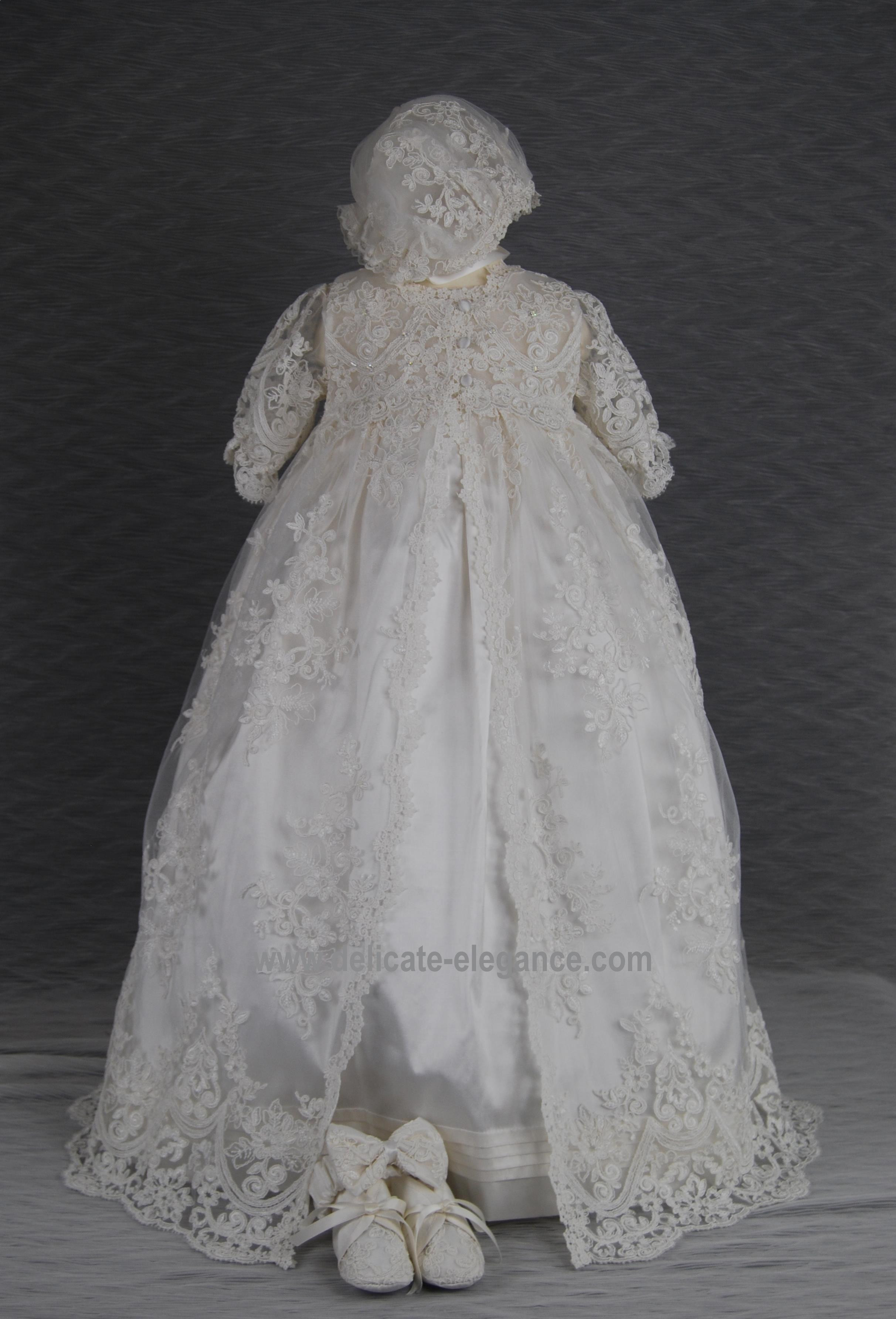 4291PG Girls Silk Christening Gown & Lace Pinafore