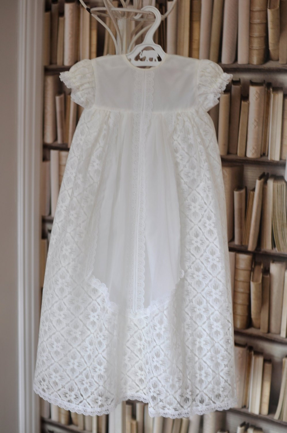 Vintage Christening Gown Cream Lace Baptism Dress by