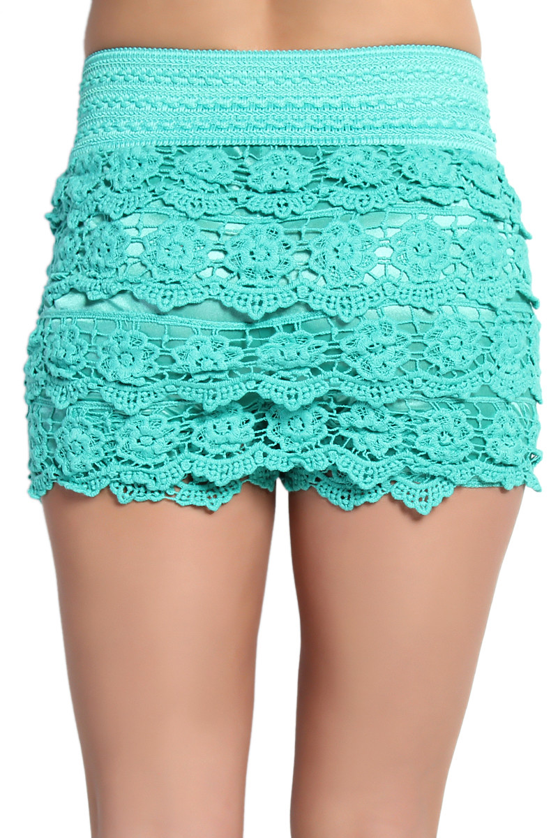 Lace Crochet Shorts New themogan Lovely Tiered Crochet Lace Stretch Waist Skort Shorts Of Wonderful 49 Images Lace Crochet Shorts