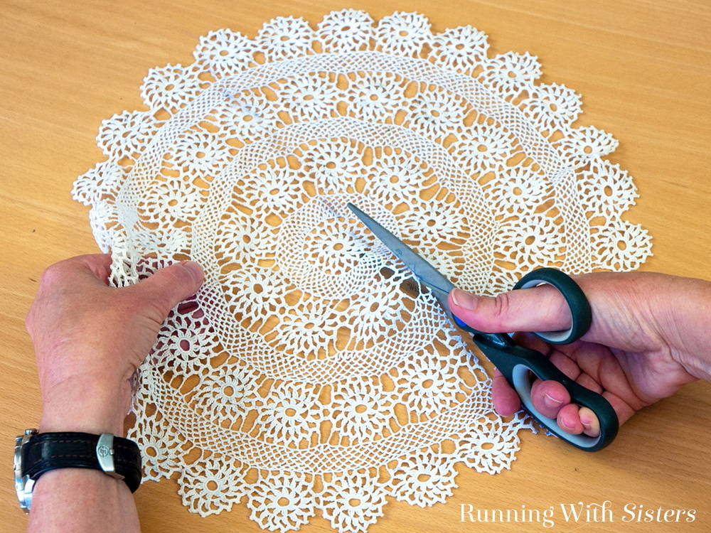 Vintage Lace Doily Pillow Running With Sisters