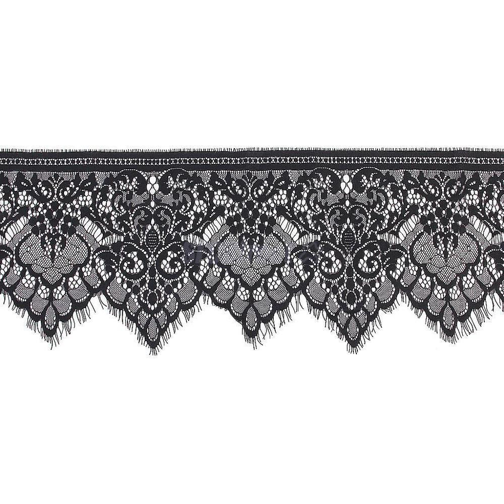 Lace Edging Awesome 3 Yards Black Floral Lace Trim Single Scalloped Edge Of Incredible 44 Ideas Lace Edging