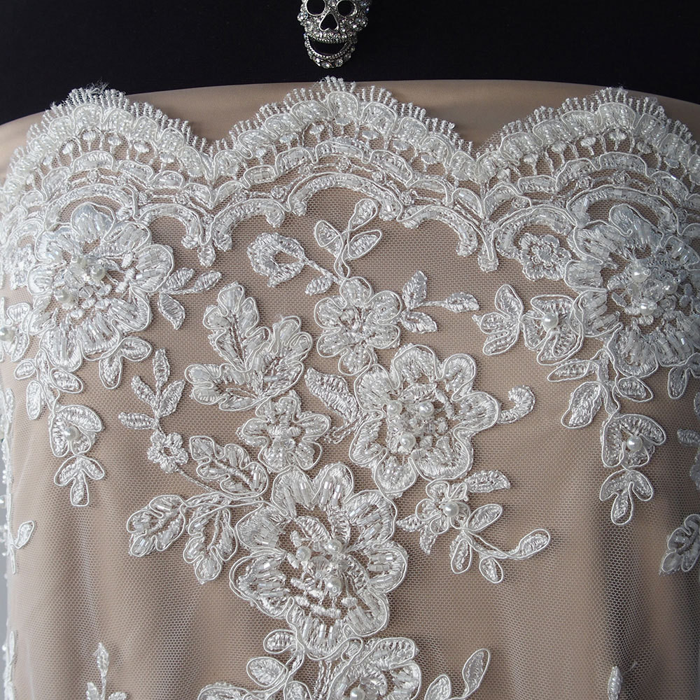 Lace Edging Best Of Ivory Bridal Beaded Lace Fabric Pearls Sequins Scallop Of Incredible 44 Ideas Lace Edging