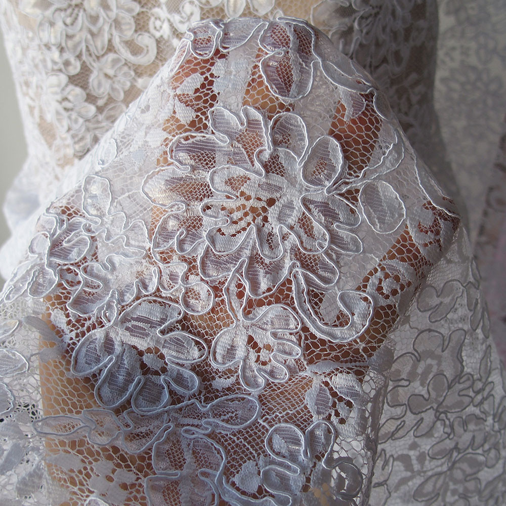 Lace Edging Elegant White Corded Alencon Bridal Lace Fabric Floral Scallop Of Incredible 44 Ideas Lace Edging