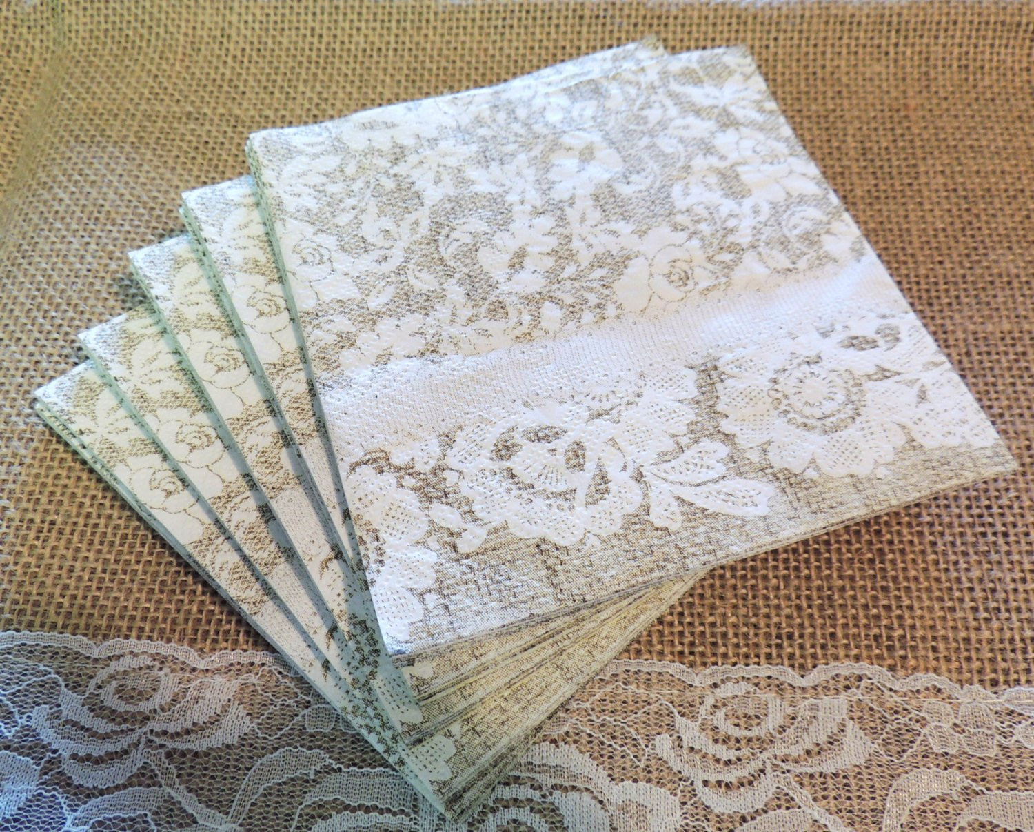 Burlap and Lace Paper Beverage Napkins Farmhouse Wedding