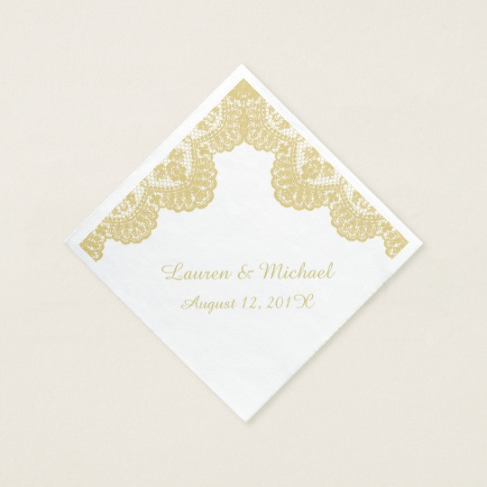 Gold Faux Lace on White Wedding Napkin