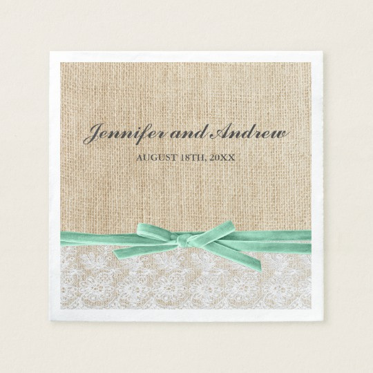 Lace Paper Napkins Inspirational Rustic Burlap Lace Mint Ribbon Wedding Paper Napkin Of Contemporary 49 Images Lace Paper Napkins