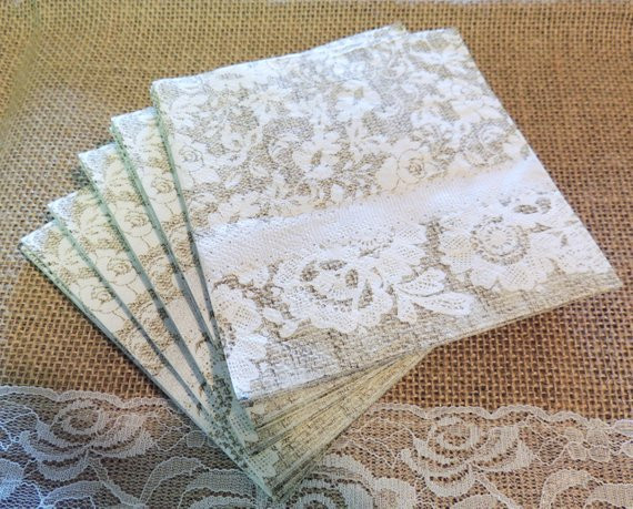Lace Paper Napkins Lovely Burlap and Lace Paper Beverage Napkins Farmhouse Wedding Of Contemporary 49 Images Lace Paper Napkins