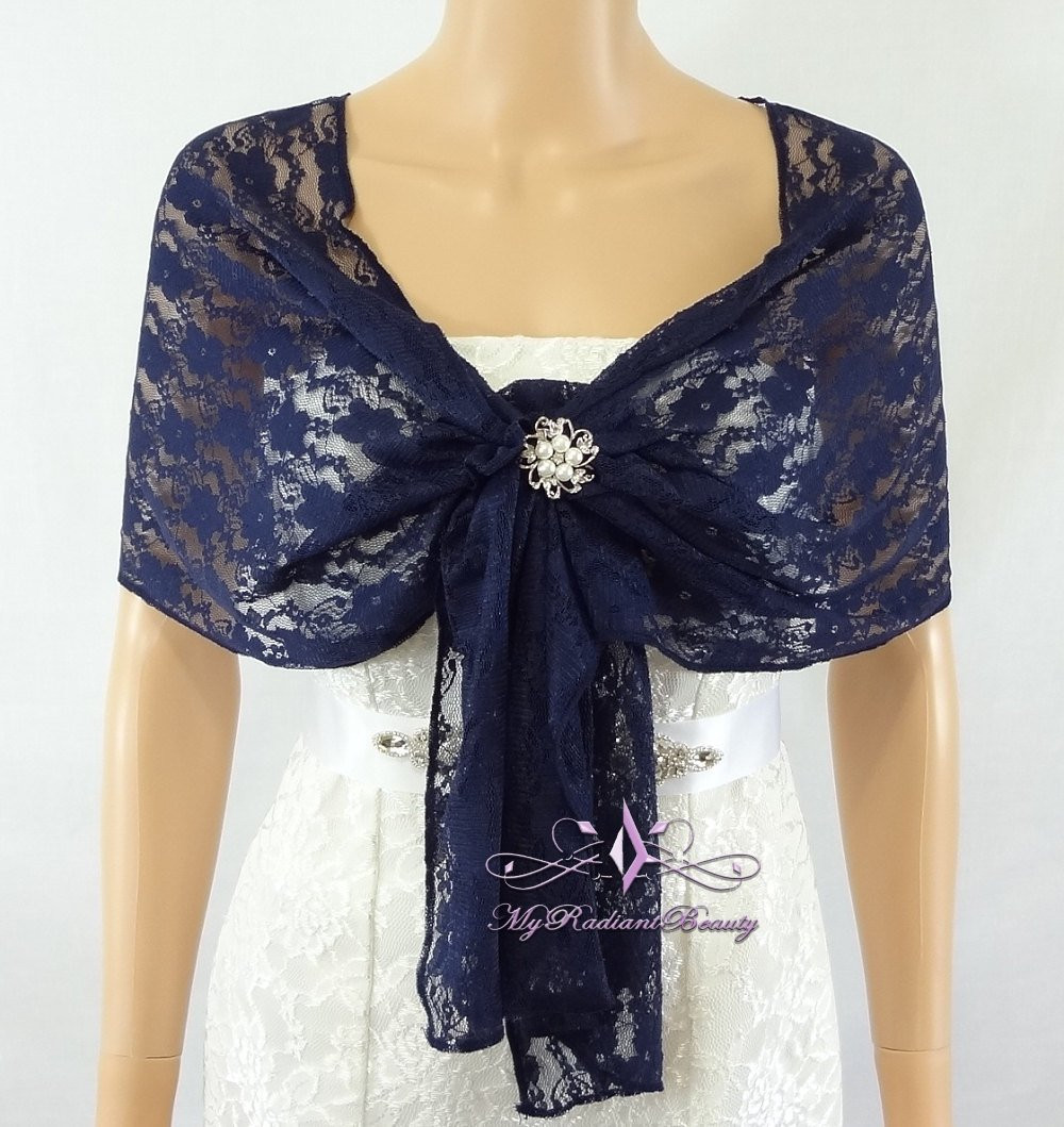 Bridal Lace Wrap Stole Navy Blue Lace Shawl by MyRadiantBeauty