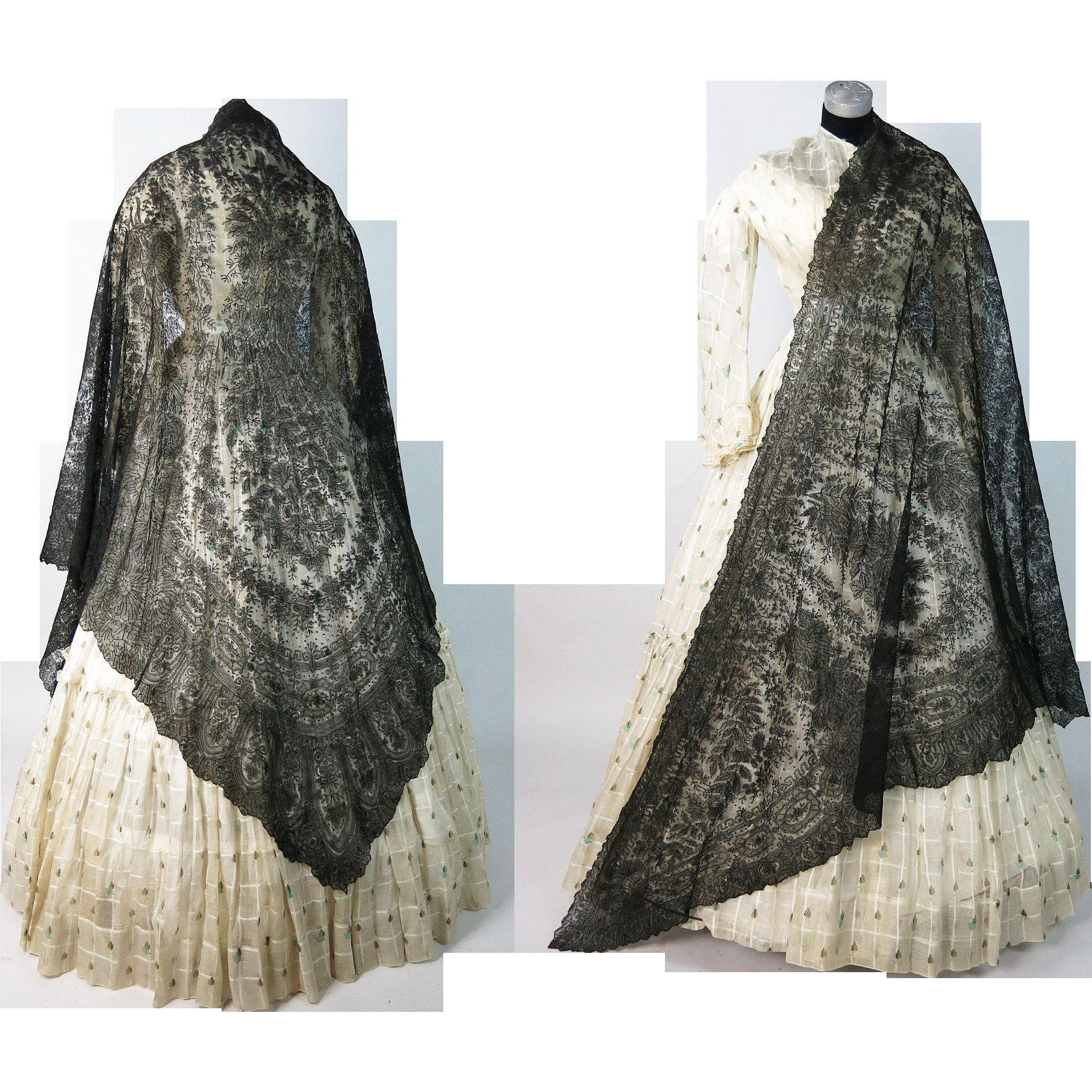 Antique 1860 s Victorian Chantilly Lace Shawl Civil War