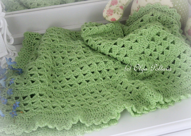 Lacy Crochet Green Scallops Baby Blanket My New Crochet