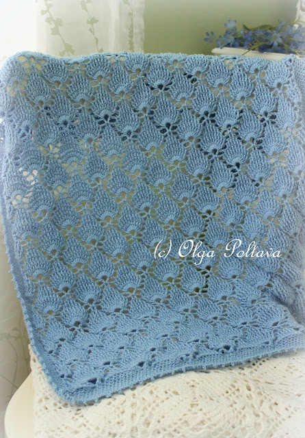 Lacy Crochet Blue Lace Baby Blanket