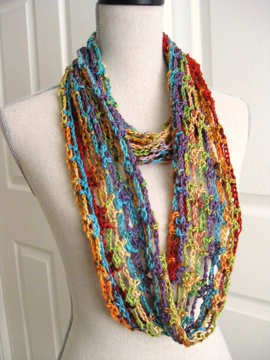 Lacy Crochet Scarf New Crochet Lacy Cowl Infinity Scarf Rainbow Colors Of Perfect 44 Ideas Lacy Crochet Scarf