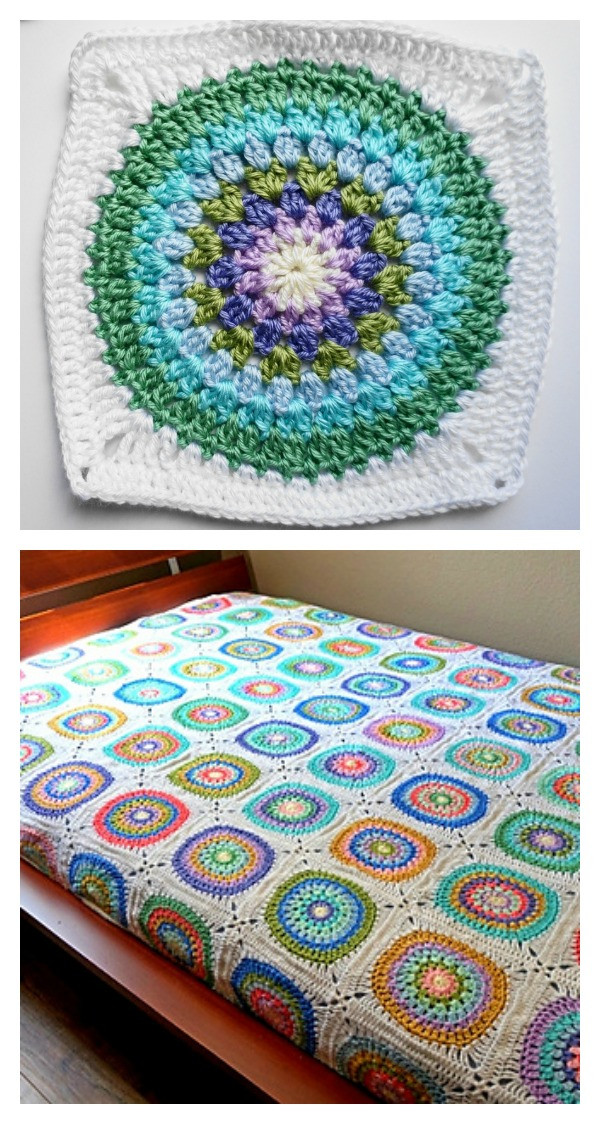 Circle in Square Blanket Free Crochet Pattern